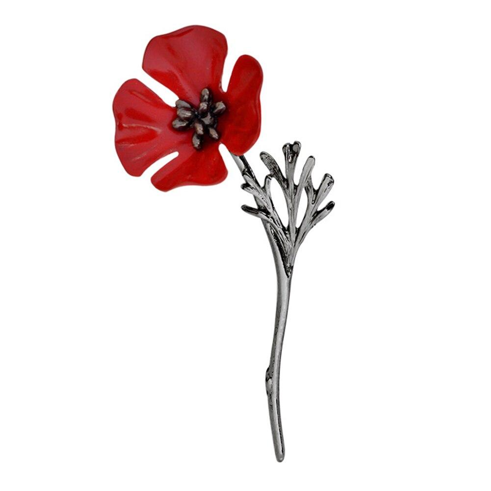 Poppy Flower Brooch Pin Vintage Women Men Collar Accessory Breastpin
