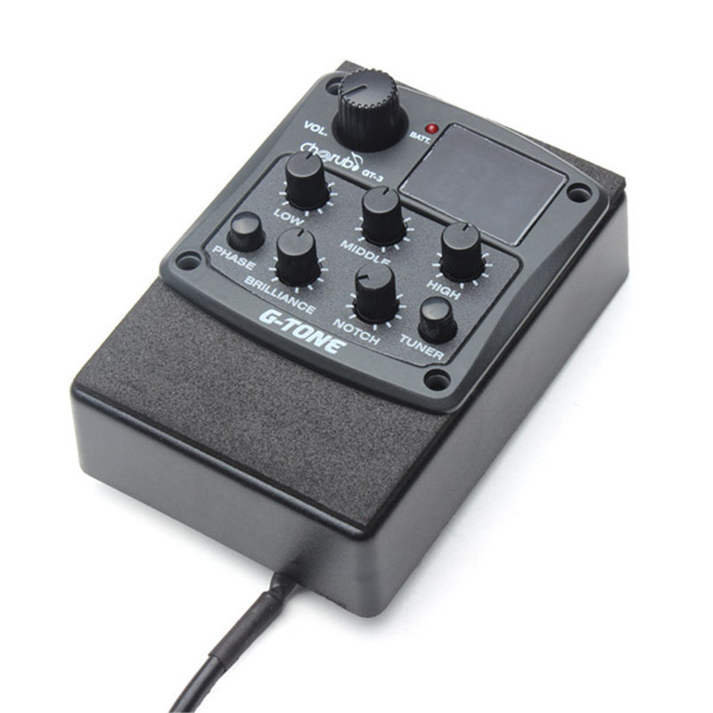 Cherub G-Tone GT-3 EQ Equalizer Acoustic Guitar Preamp Piezo Pickup LCD Display Guitar Equalizer with Tuner Function