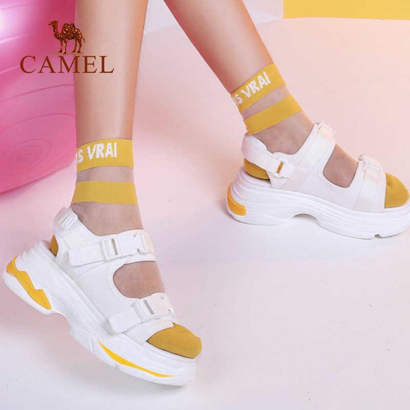 גמל מזדמן סנדלי עלייה גבוהה אבזם שטוח פראי לנשימה נעלי נשים 2019 קיץ חדש טריזי סנדלי אופנה Sapato Feminino