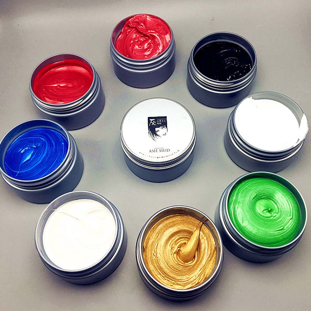Instant Hair Colour Pomades Waxes White Purple Gray Silver Ash Wax Hair Color Wax Mud Disposable Dye Hair Color Washable