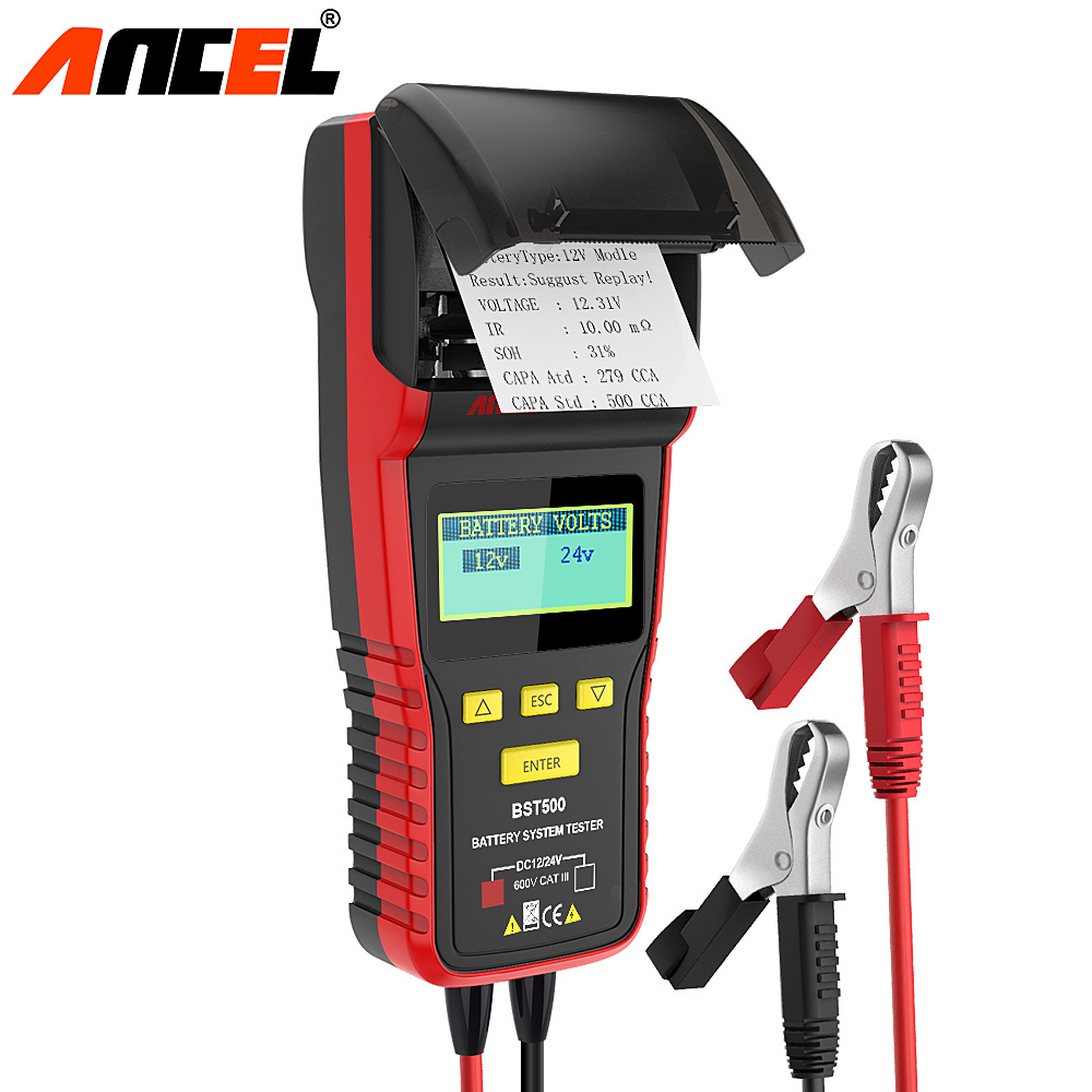 Ancel BST500 12V 24V Car Battery Tester With Thermal Printer Car Heavy Duty Truck Battery Analyzer Battery Test Diagnostic Tool цена
