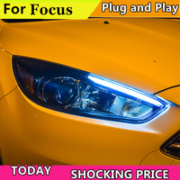 Car Styling for Ford Focus 2015 2018 Headlights For focus ST styling Headlight DRL Lens Double Beam Bi Xenon HID car Accessories