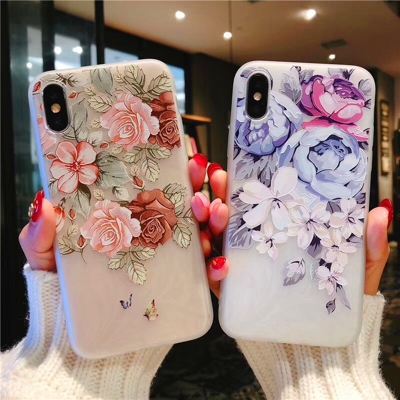 Flower Silicon Phone Case For iPhone 7 8 Plus Rose Floral Leaves Cases For iPhone X 8 7 6 6S Plus Soft TPU Cover