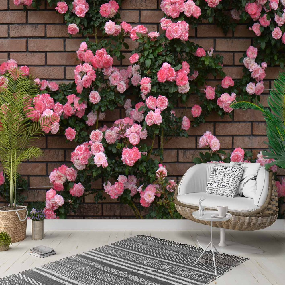 Else Brown Brick Wall Pink Rose Flower Ivy 3d Photo Cleanable Fabric Mural Home Decor Living Room Bedroom Background Wallpaper