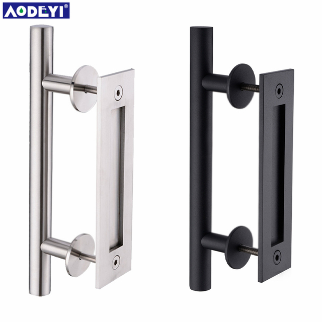 AODEYI 304 Stainless Steel Sliding Barn Door Pull Handle Wood Door Handle  Black Door Handles For