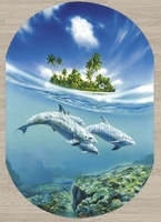 Else Tropical Island Under Blue Sea Swim Dolphins 3d Print Non Slip Microfiber Living Room Modern Oval Washable Area Rug Carpet