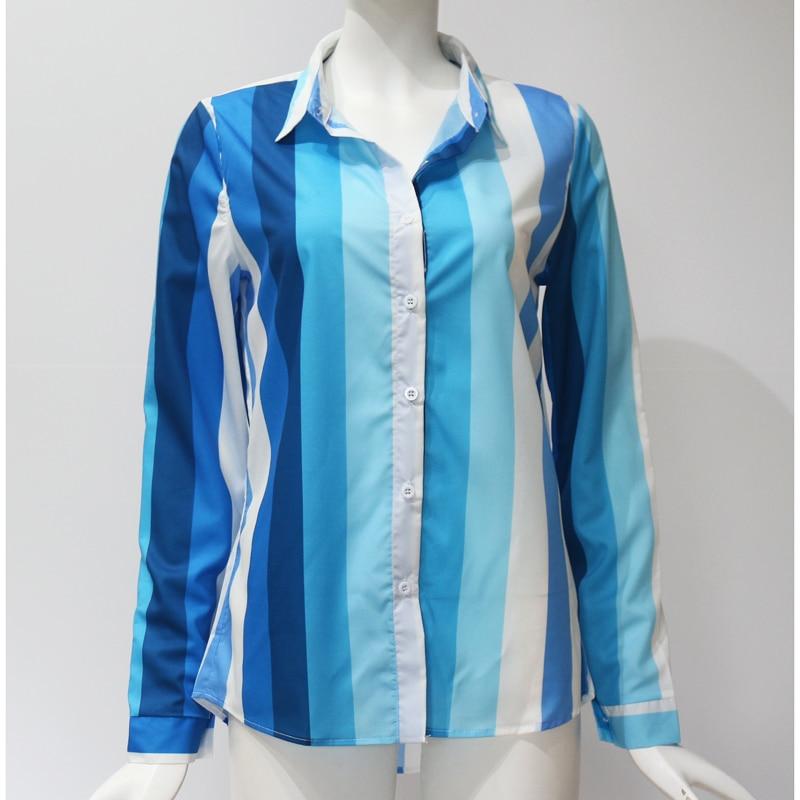 Women Blouses Fashion Long Sleeve Turn Down Collar Office Shirt Leisure Blouse Shirt Casual Tops 105