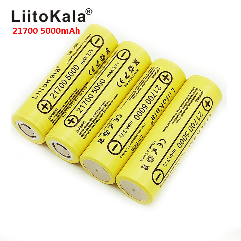 2019 LiitoKala lii-50E 21700 5000 mah 3.7 V Bateria Recarregável 5C descarga baterias De Alta Potência Para Alta-Aparelhos de poder