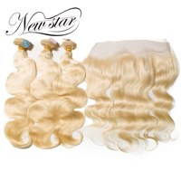 New Star 613 Blonde Body Wave 3 Bundles With Lace Frontal Brazilian Free Part Remy Human Weave Hair Extension For Beauty Salon