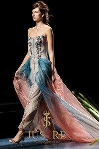 Image 2 - JUSERE 2019 SS אופנה להראות סקסי לראות דרך ישר לנשף שמלת יד ואגלי ארוך צד פורמלי שמלות Vestido דה festa לונגו