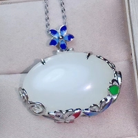 KJJEAXCMY boutique jewelry,925 Silver inlaid Natural Hotan Jade Necklace Pendant Support Detection