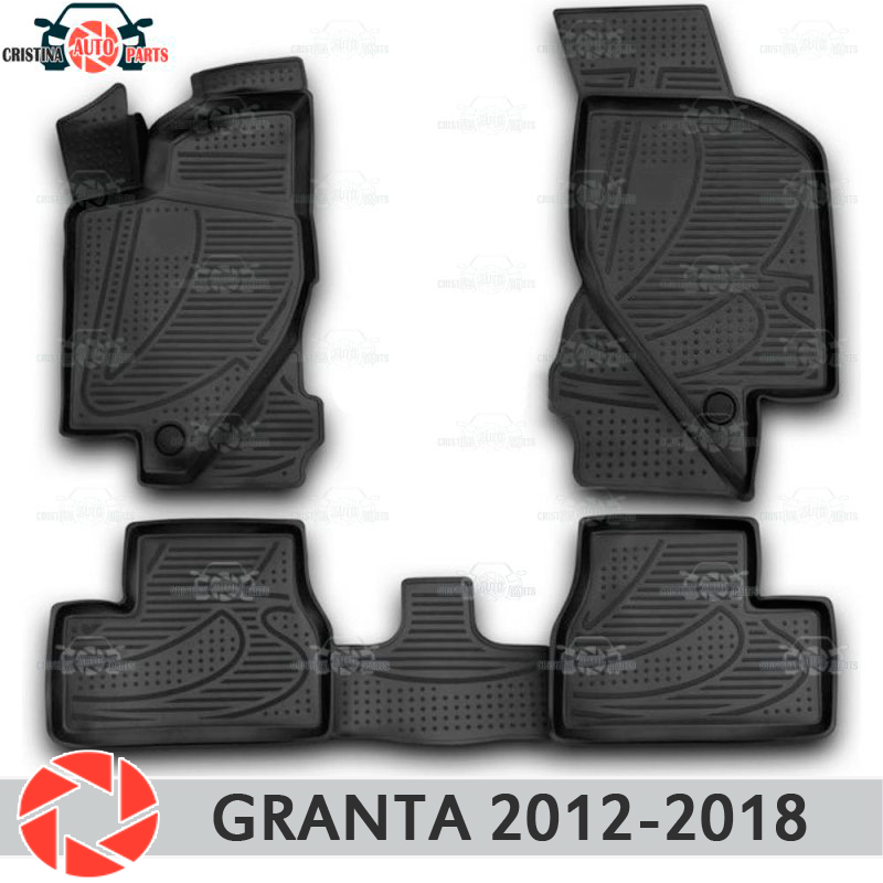 Para Lada Granta 2012-2018 Sedan Liftback piso alfombras antideslizantes poliuretano suciedad protección interior coche accesorios de diseño