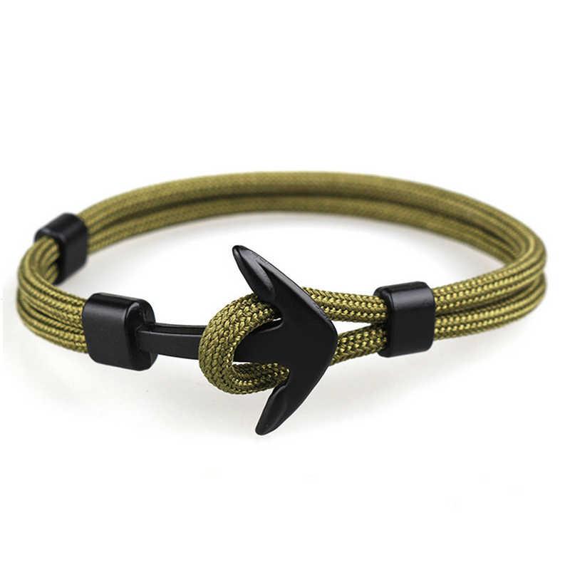 Tangyin 2018 nova moda sobrevivência corda corrente multicamadas âncora charme pulseiras e pulseiras presente das mulheres dos homens esporte ganchos estilo marinho