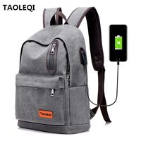 TAOLEQI Anti theft Men Women Canvas Backpacks Men USB Charging Laptop Backpack for school backpack Bag for Male Mochila Feminina