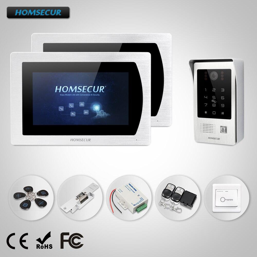 HOMSECUR 7 Проводной Видео и Аудио Домашний Интерком Электрический Замок Удар в Комплекте, Монитор с Сенсорным Экраном для Квартиры