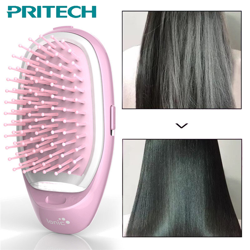 PRITECH 3D Inflatable Electric Hair Brush Comb Portable Hair Massage Style Brush Negative Ions Care Hair Straightener #BCM-1061