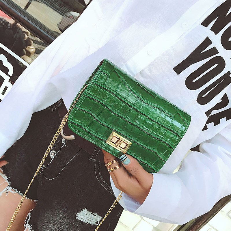 Osmond Ladies Crocodile Shoulder Bag Simple Candy Color Small Women Classic Messenger Bags Crossbody Luxury Chain Handbag Green 2015 women cute bow candy color handbags ladies messenger shoulder crossbody bags mini small quilted chain bags bolsas ba048