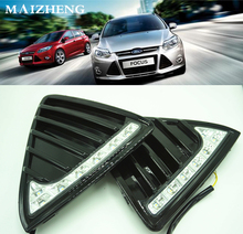 Gloss or Matt style E4 12V LED Car DRL daytime running lights fog lamp with turn off and dimming Relay for Ford Focus 3 2012