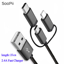 SooPii 3 in 1 2.4A Data Sync Cable Micro USB Type C Charging for iPhone X XS Max Huawei P20 Xiaomi Samsung