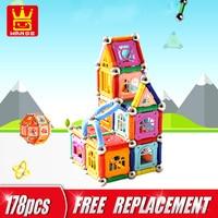 178pcs Magnetic Sticks Toys Building Kits Construction Blocks Set Magnet Bars Metal Balls Educational Toys For