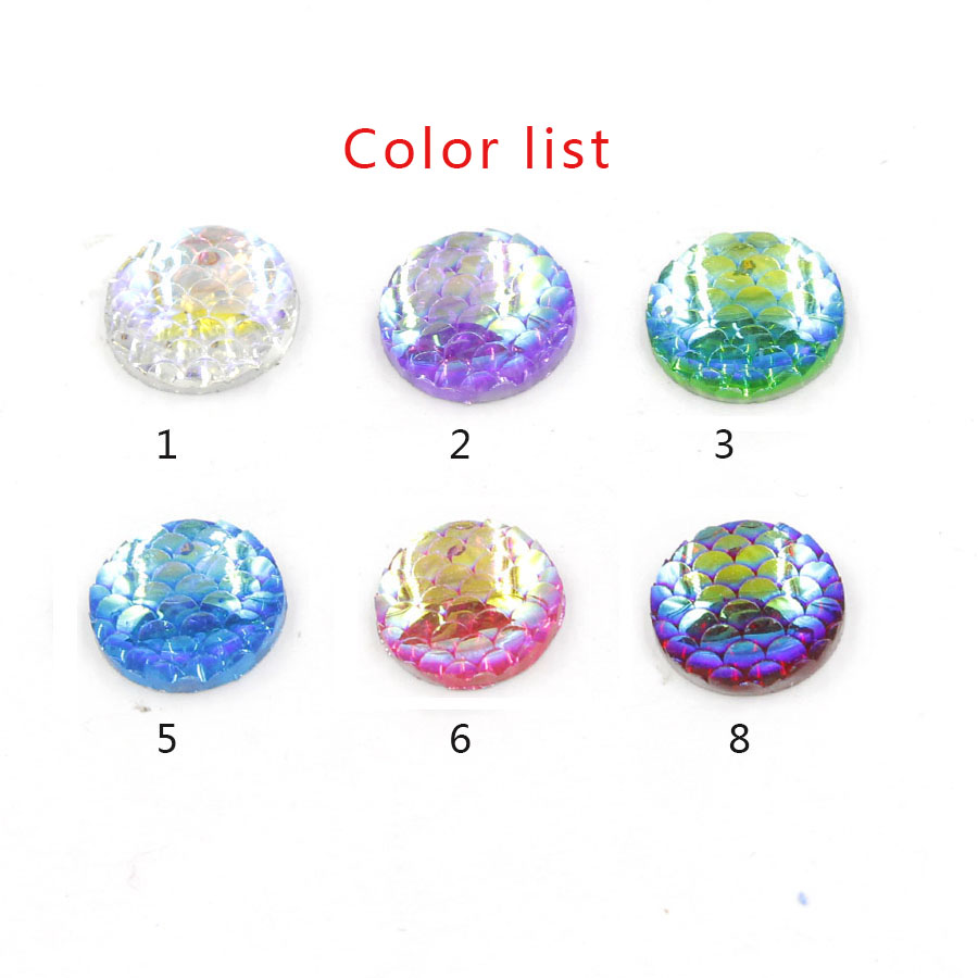 US $1 53 39% OFF|Fnixtar 14mm Round Resin Cabochons Fish Scales Flat Back  Cabochon Supplies for Jewelry Finding For Setting Base 20Piece/lot -in