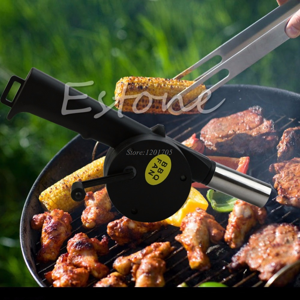Manually Outdoor Barbecue Fan Air Blower BBQ Tools Barbacoa Grill Accessories High Quality Plastic & Stainless Steel