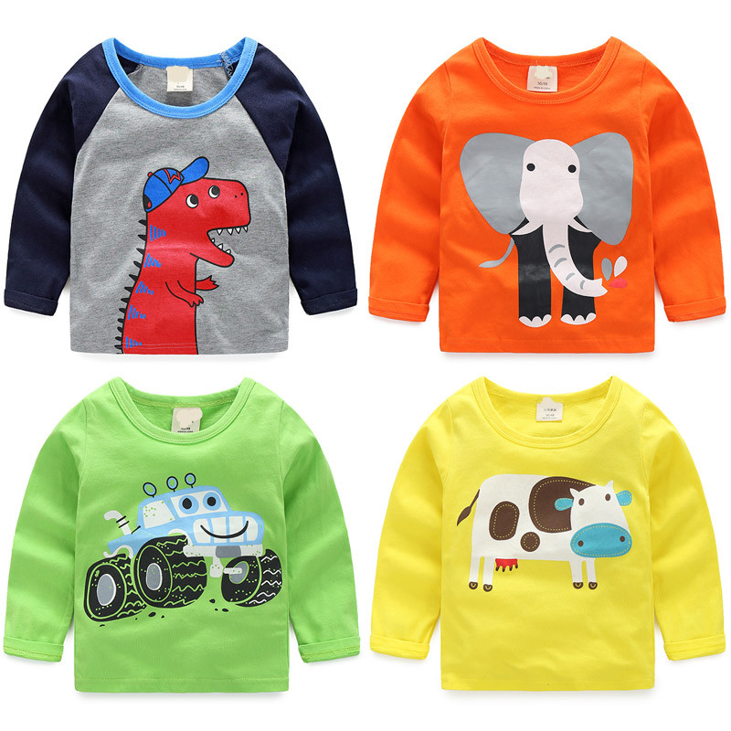 все цены на 2018 Spring Autumn Children'S Clothing Baby Boys Roud Neck Long-Sleeve Cotton Carton Print T-Shirt Basic Shirt Tops For Kids