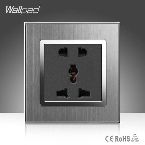цена на 5 Pins Universal Sokcet Wallpad 10A 16A AC 110-250V Brushed Silver Metal 2 Pin 3 Pin Universal EU UK US Power Wall Socket