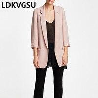 2018 Hot Sale Women Blazers Jackets Spring Autumn Casual Ladies 3/4 Sleeves Female OL Business Suit Coat 4Color Plus Size Is264