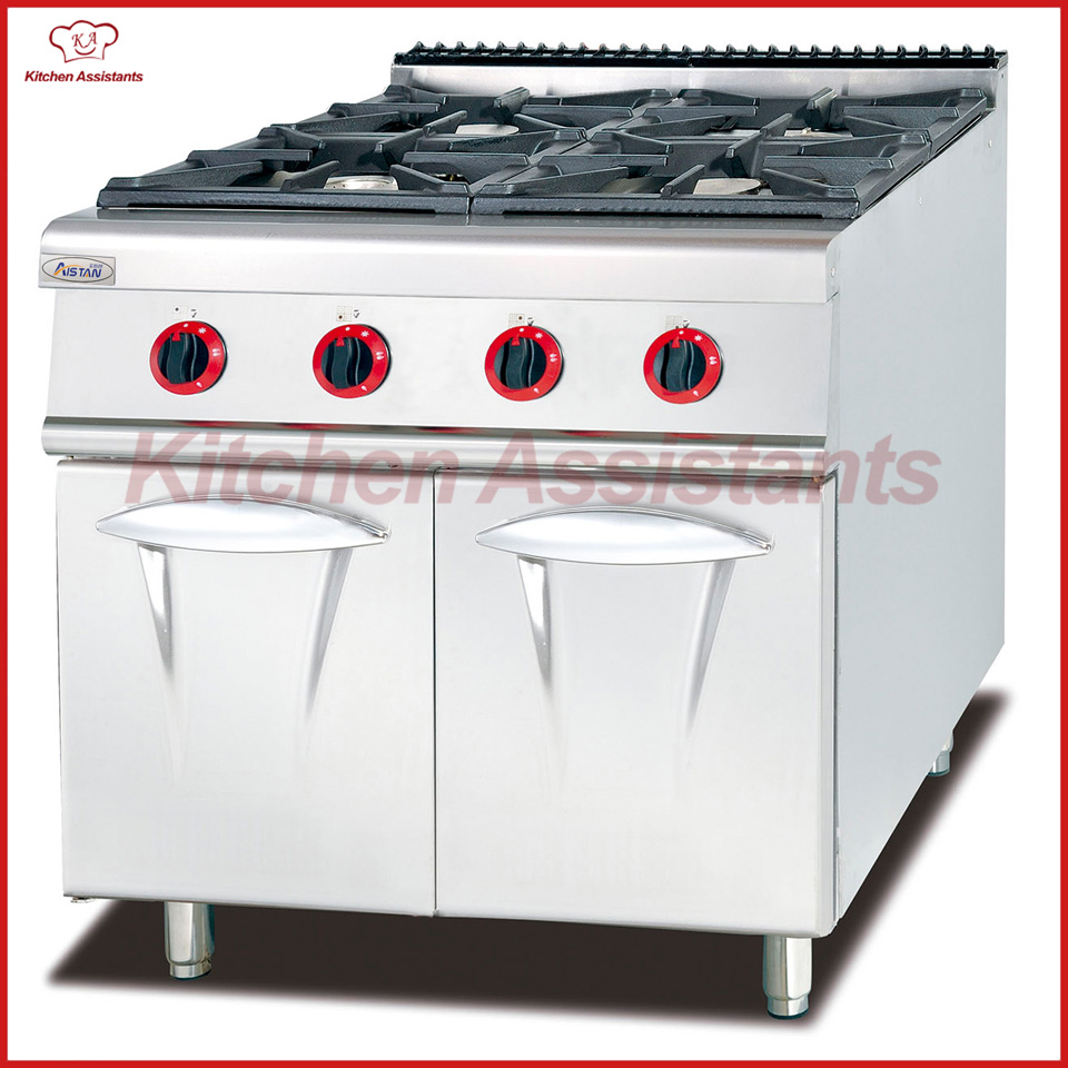 GH987 Gas 4 Burners cooker with cabinet of catering equipment gh987 gas range with 4 burner with cabinet