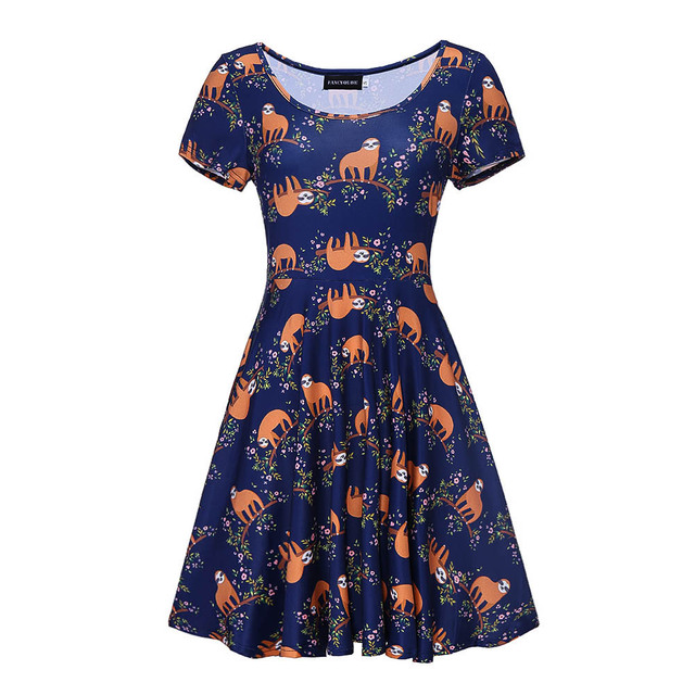 Summer Sexy Floral Dress Sloth Print Women A-neck Short Sleeve Wedding Party Vintage A Line Dress