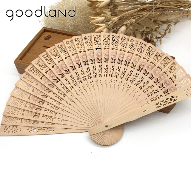 Free Shipping Whole 50pcs Lot Sunflower Print Fragrant Wooden Hollow Out Hand Folding Fans Wedding