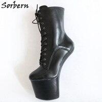 Sorbern Black Matt Hoof Heelless Ankle Boots Women Shoes Size 44 Exotic Dancer Shoes Ladies Clubbing Shoes Sexy Shopper Shoe