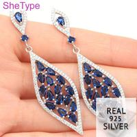 9.93g Long Tanzanite White CZ Gift For Woman's Real 925 Solid Sterling Silver Earrings 67x18mm