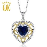 Gemstoneking 1.8 CT corazón forma azul zafiro vintage 925 collar de plata de ley colgante para las mujeres 2016 madre de DAT regalo