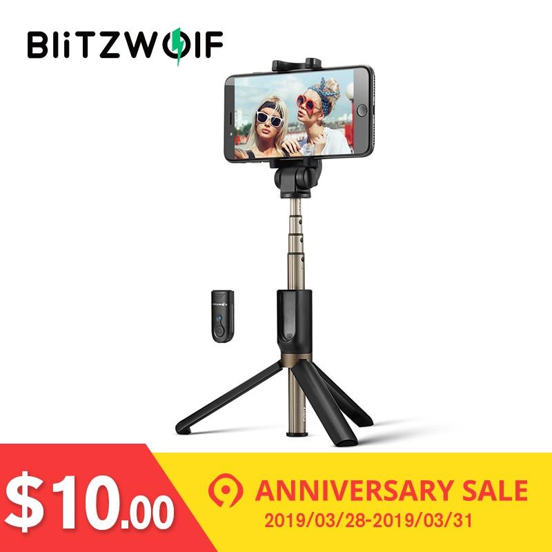 BlitzWolf 3 in 1 Wireless Bluetooth Selfie Stick Mini Tripod Extendable Monopod Universal For iPhone X