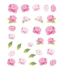 2PC/Set Pink Flower Design 1 Sheet Water Transfer Nail Art Stickers Decals Manicure Decoration Beautiful Fashion Accessories(China)