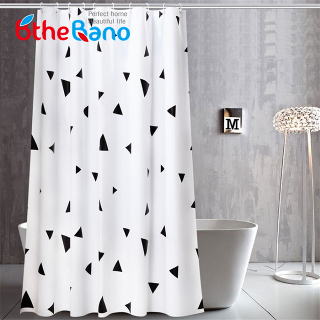 Modern Geometric Bath Curtain PEVA Eco Friendly Waterproof Plastic Shower Bathroom Curtains 8