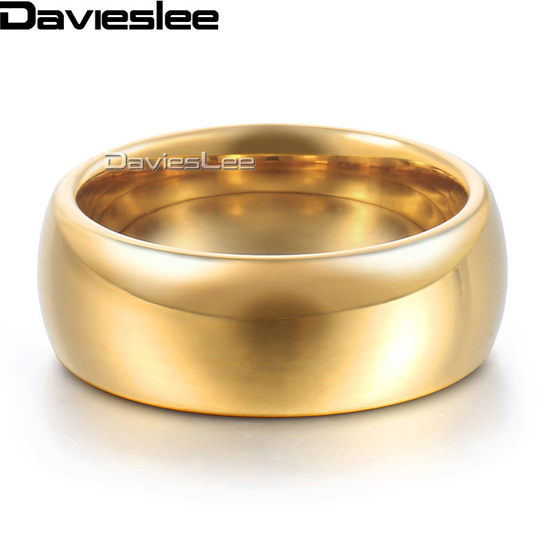 Davieslee Polished Band Ring Wedding Engagement Tungsten Carbide Rose Yellow Gold-color 8mm DTRM03