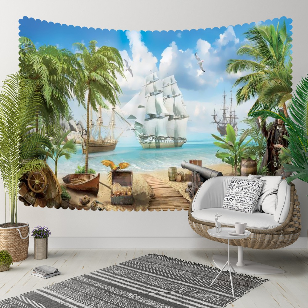 Else Blue Sky Tropical Palm Green Trees Pirate Beach 3D Print Decorative Hippi Bohemian Wall Hanging Landscape Tapestry Wall Art