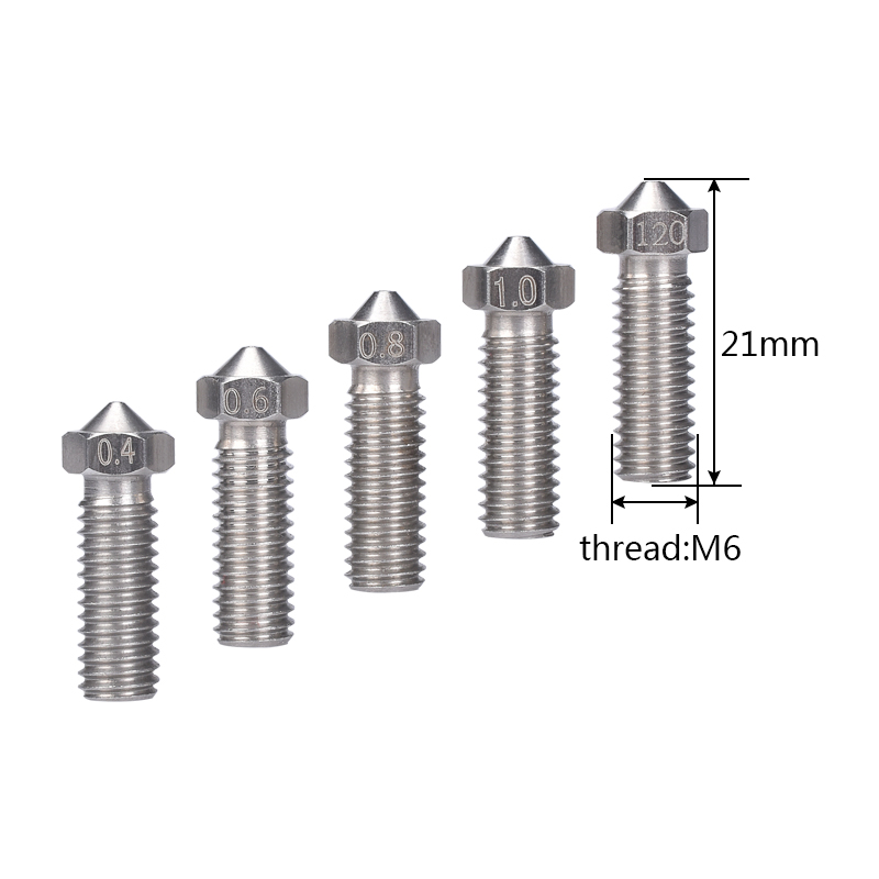 10pcs 3D Printer Parts Volcano Nozzle Stainless Steel M6 Nozzle Extra 0.4mm/0.6mm/0.8mm/1.0/1.2mm For 1.75/3.0mm Filament