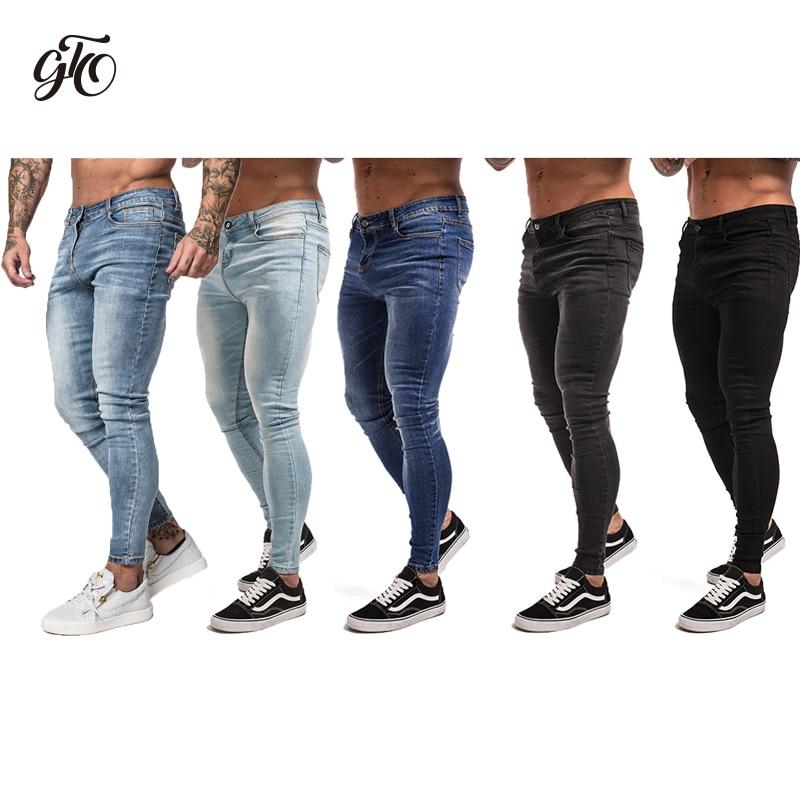 Gingtto Mens Dünne Jeans Schwarz Distressed Denim Stretch Jeans Männer Hombre Slim Fit Mode Elastische Taille Dropshipping zm01