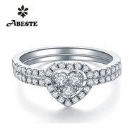 ANI 18K White/Yellow/Rose Gold (AU750) Women Wedding Ring 0.3 CT Certified I J/SI Real Natural Diamond Halo Ring Set Heart Shpe
