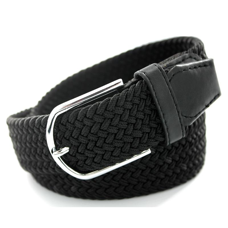 Unisex   Belt   Knitted Woven PU Leather Pin Bucket Elastic Solid Color men   Belt   Plain Webbing   Belt   for women Cinturones Hombre