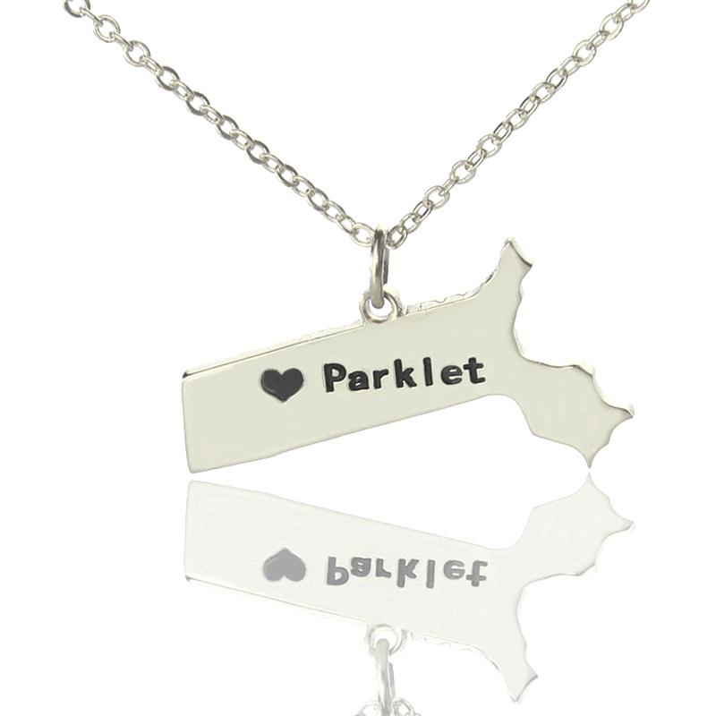 US State Charms MA 925 Sterling Silver Massachusetts State Charm Necklace