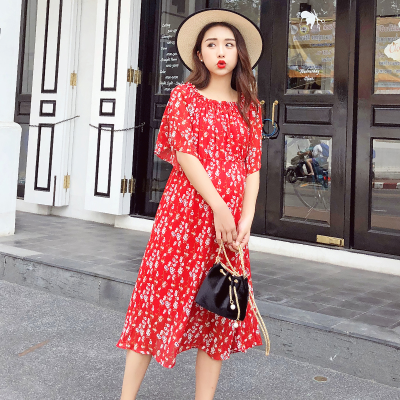 Off Shoulder Flower Printed Chiffon Maternity Long Dress 2017 Summer Korean Fashion Clothes for Pregnant Women Pregnancy women fashion off the shoulder slim fit dress