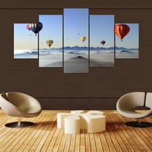 Modern Decorative Bedroom Living Room 5 Pieces HD Printed Painting Hot Air Balloon Modular For Home Wall Art Decor Artwork Draw