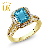 2 78 Ct Octagon Blue Topaz 18K Yellow Gold Plated Silver Ring