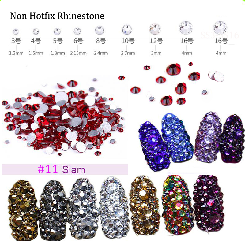 3D Nail Art Rhinestone ss3 ss4 ss5 ss6 ss10 ss12 ss16 1440 pcs Glass Gem Siam Rhinestone Non Hot Fix Nail Art Decoration No 11 in Rhinestones Decorations from Beauty Health