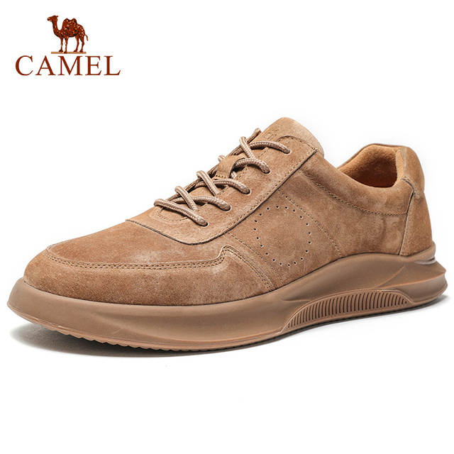 CAMEL Spring Summer Textured Leather Men's Shoes Lace-up Man Outdoor Casual Shoes Thick Bottom Stitch Non-slip Tide Male Shoes